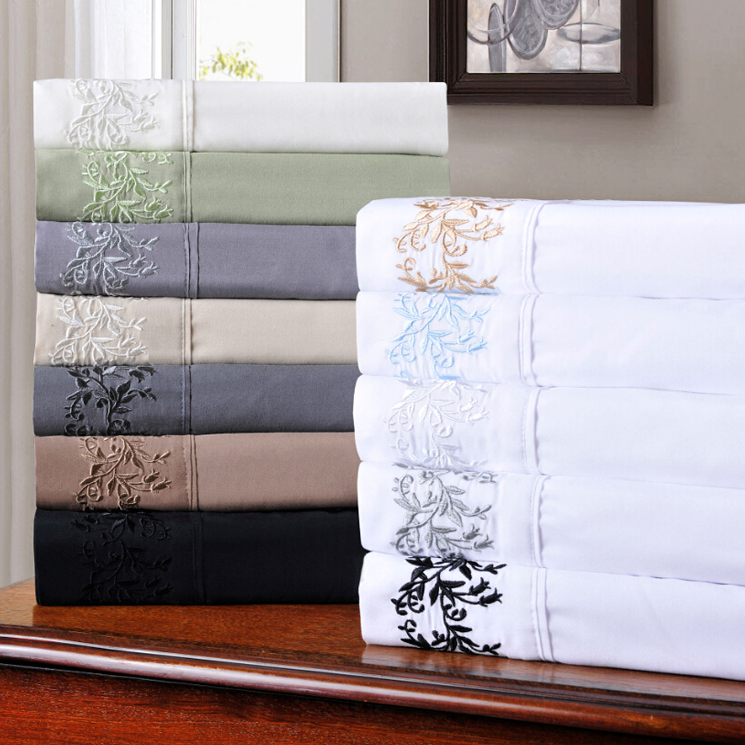Decorative-Floral-Embroidered-Microfiber-Sheet-Set thumbnail 1