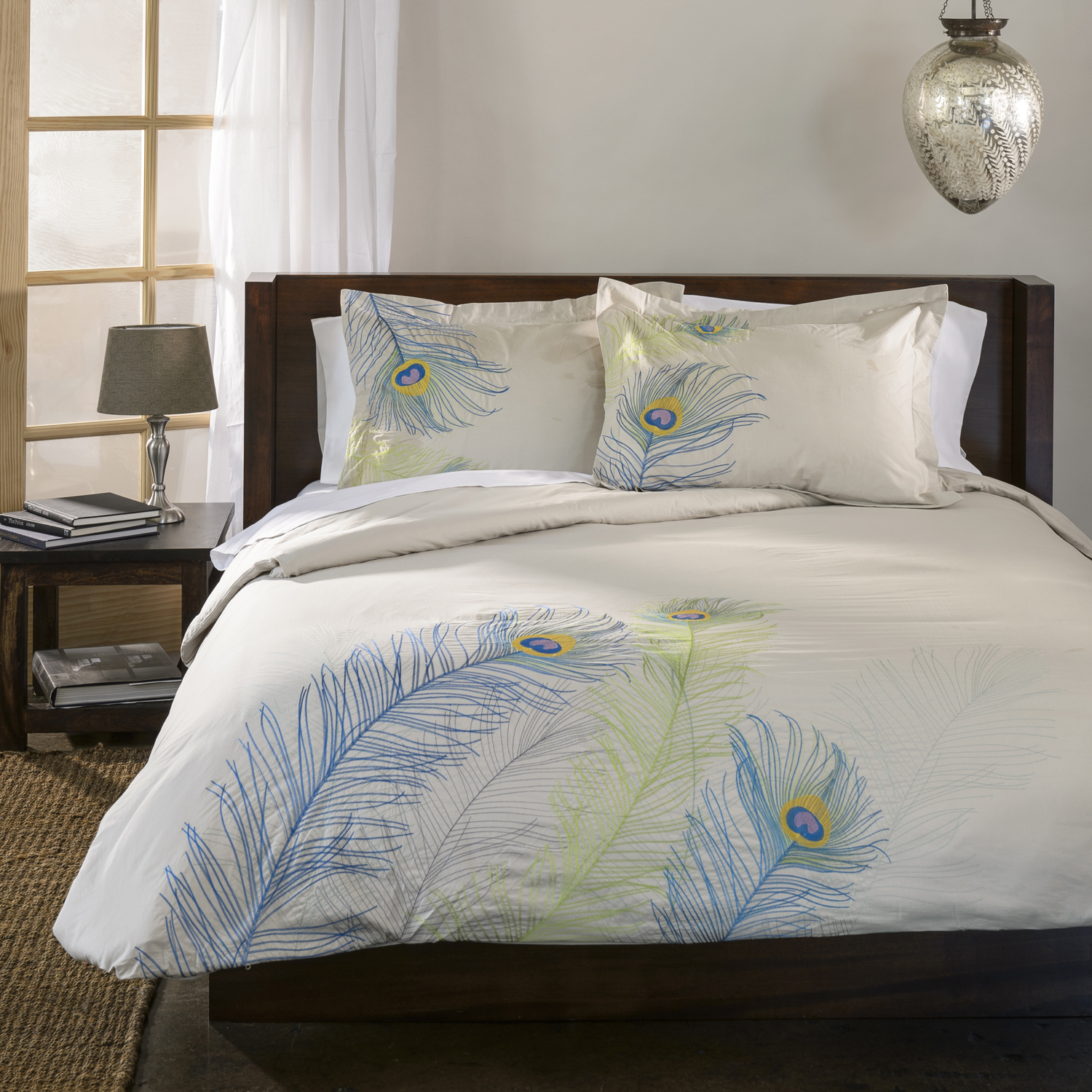 Peacock bedroom set - Duvet Cover Set With Pillow Shams Embroidered Feather