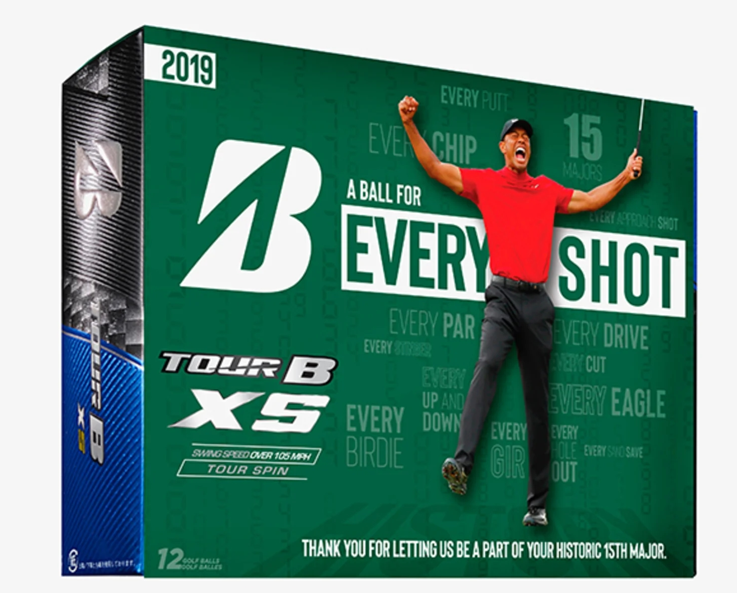 Tiger Woods Limited Edition Masters Commemorative Bridgestone Tour B XS Golf Balls thumbnail