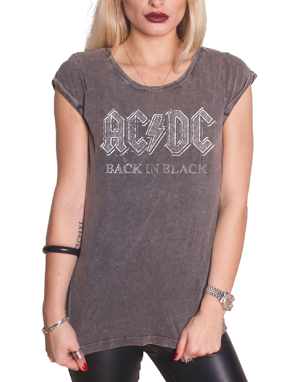 ac dc t shirt womens rock or bust band logo about to rock official skinny fit ebay. Black Bedroom Furniture Sets. Home Design Ideas