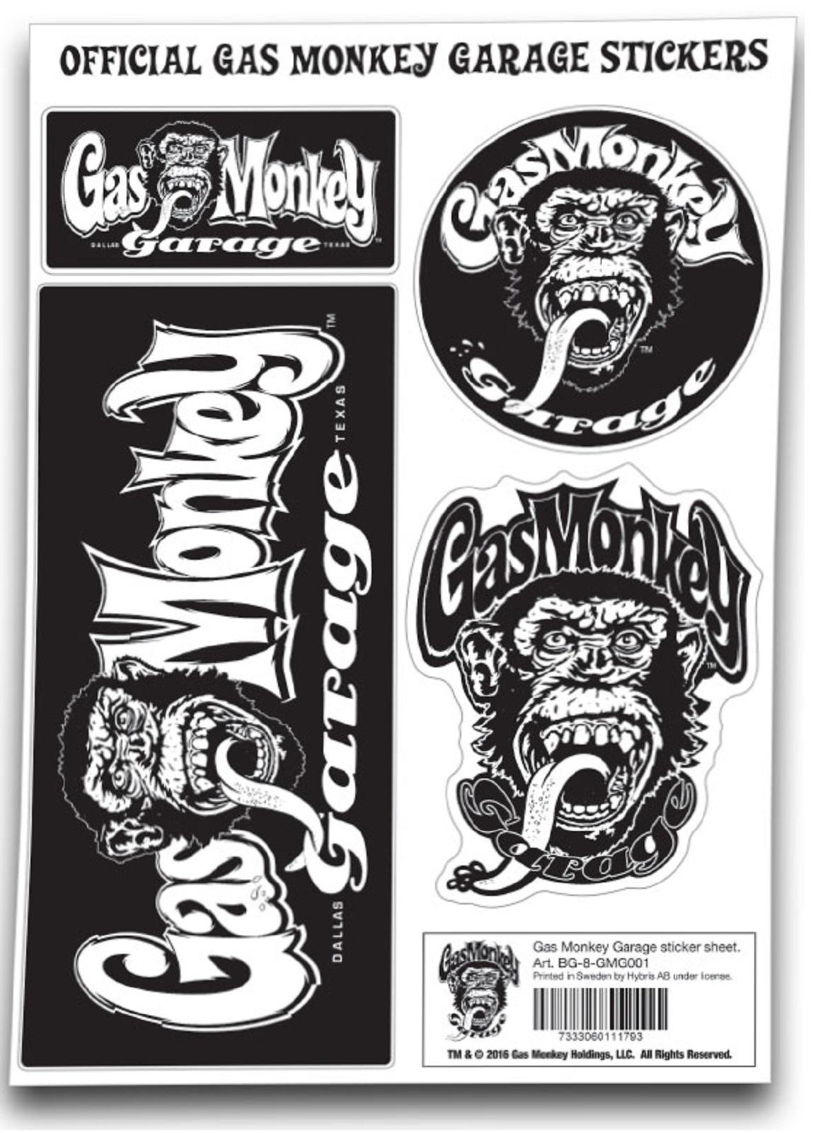 gas monkey garage sticker set gmg monkey logo official new. Black Bedroom Furniture Sets. Home Design Ideas