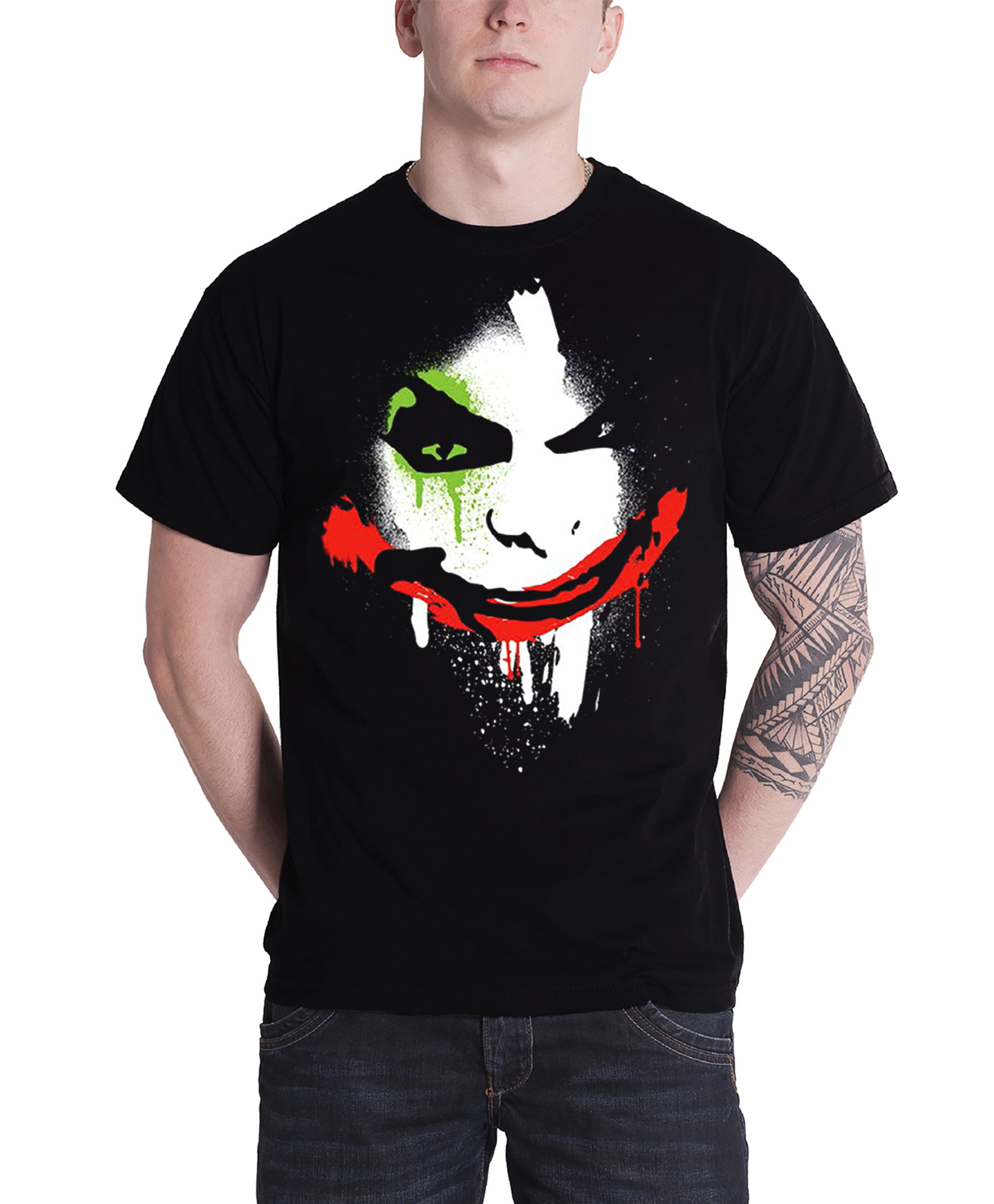 Batman Arkham City Halloween Joker Face Mens Blk TS