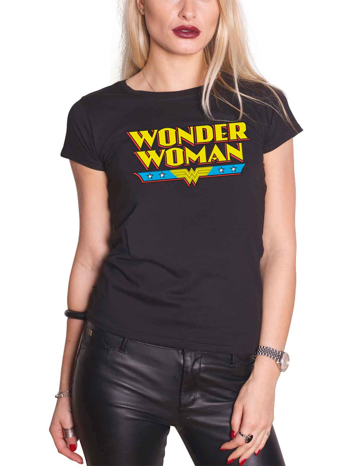 39aee812c9f2 Wonder Woman T Shirt WW Logo new Official DC Comics Womens Skinny Fit Black