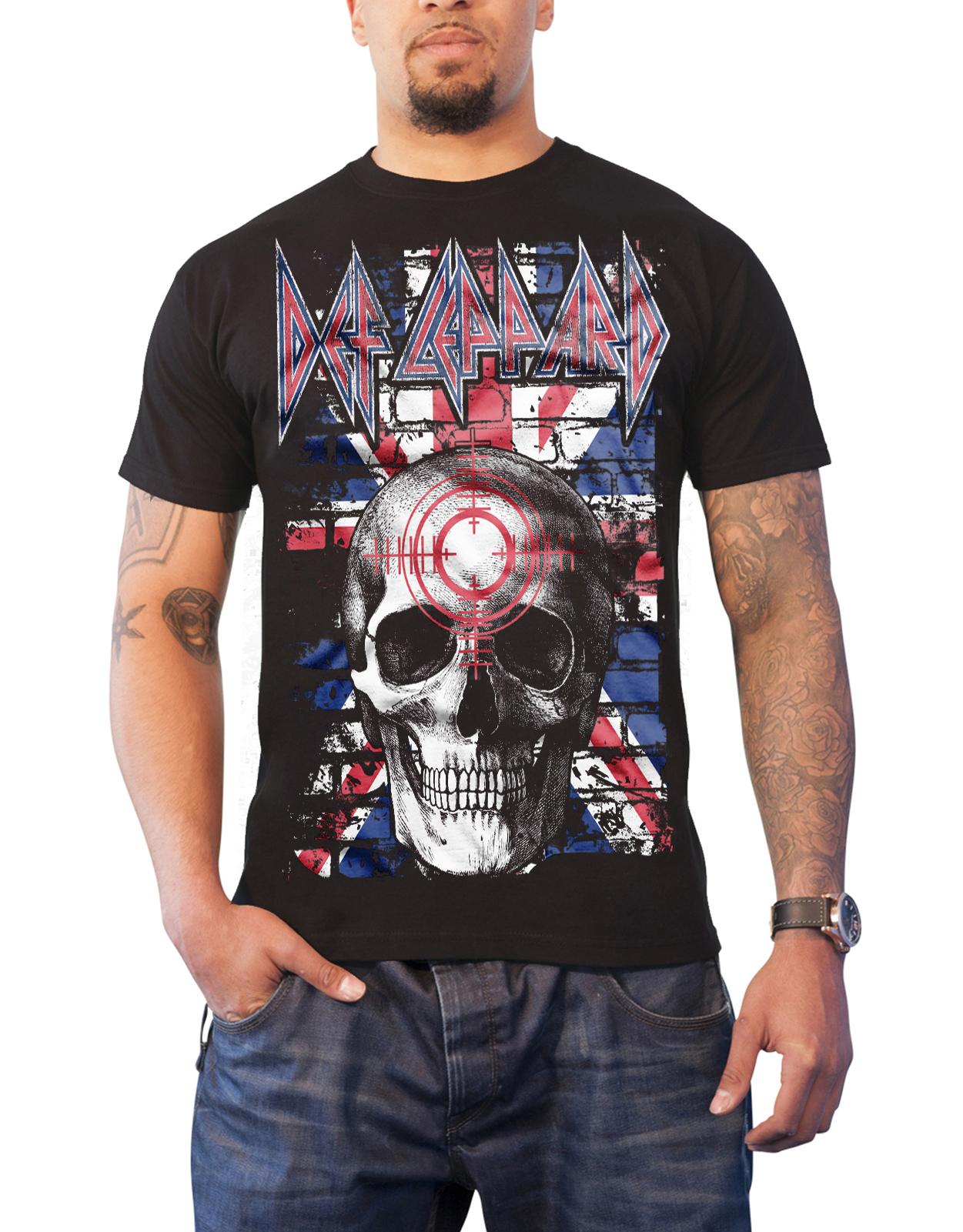f4b82cdd5675 Def Leppard T Shirt Union Jack Skull band logo new Official Mens Black