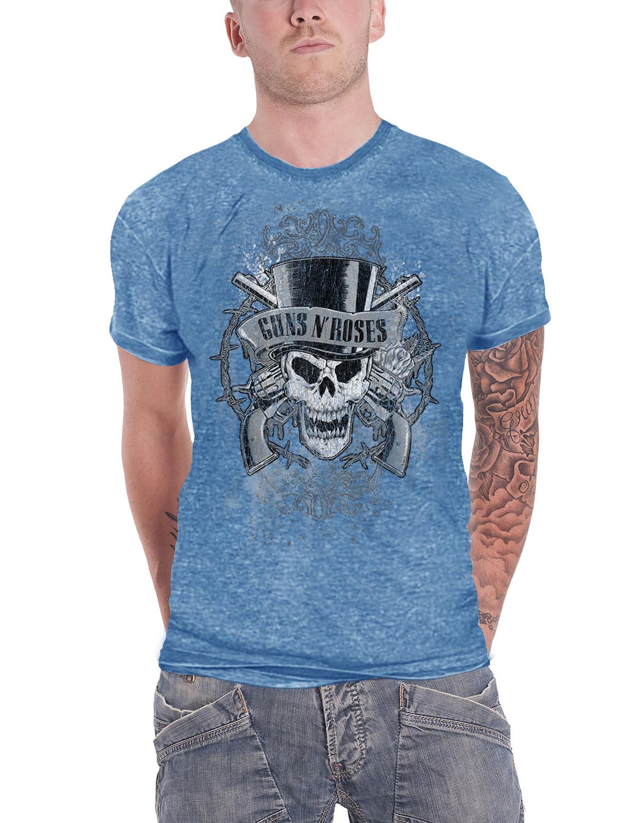 Burn Out Blue Guns N/' Roses Mens//Unisex Fashion T-Shirt Faded Skull