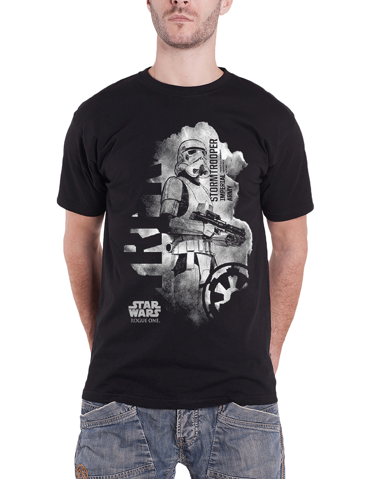 Star-Wars-T-Shirt-Rogue-One-Stormtrooper-Distressed-Logo-Official-Mens-New-Black