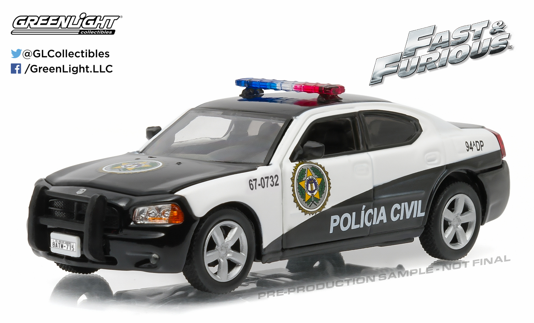 greenlight 1 43 fast furious sao paulo police 2006 dodge charger pursuit ebay. Black Bedroom Furniture Sets. Home Design Ideas