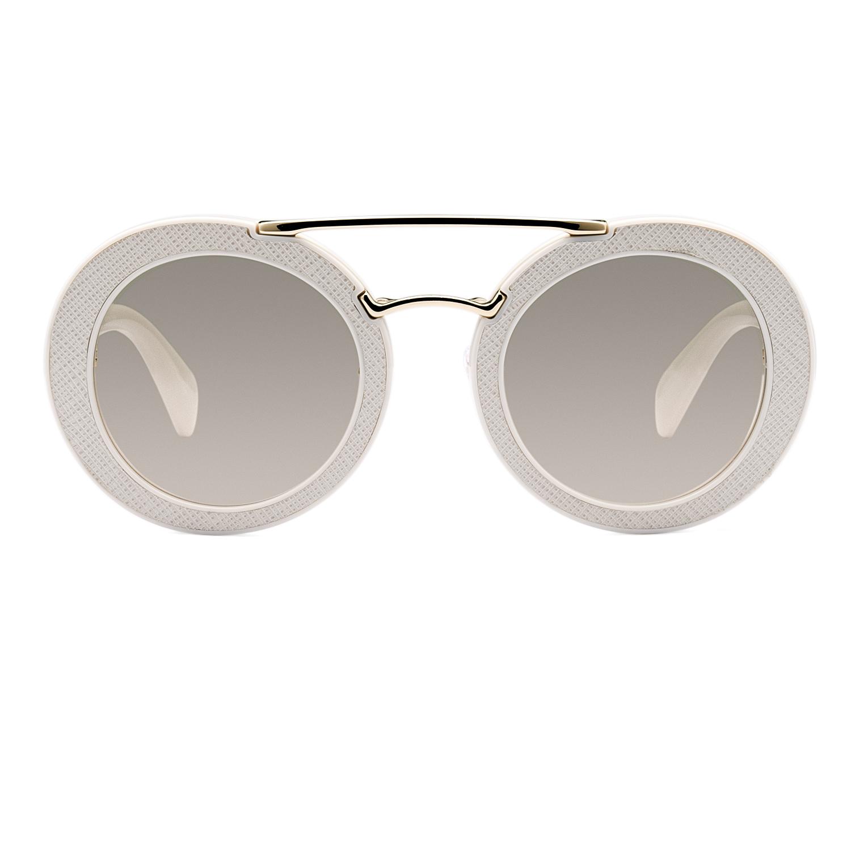 e3fd475e947 Prada White Round Sunglasses