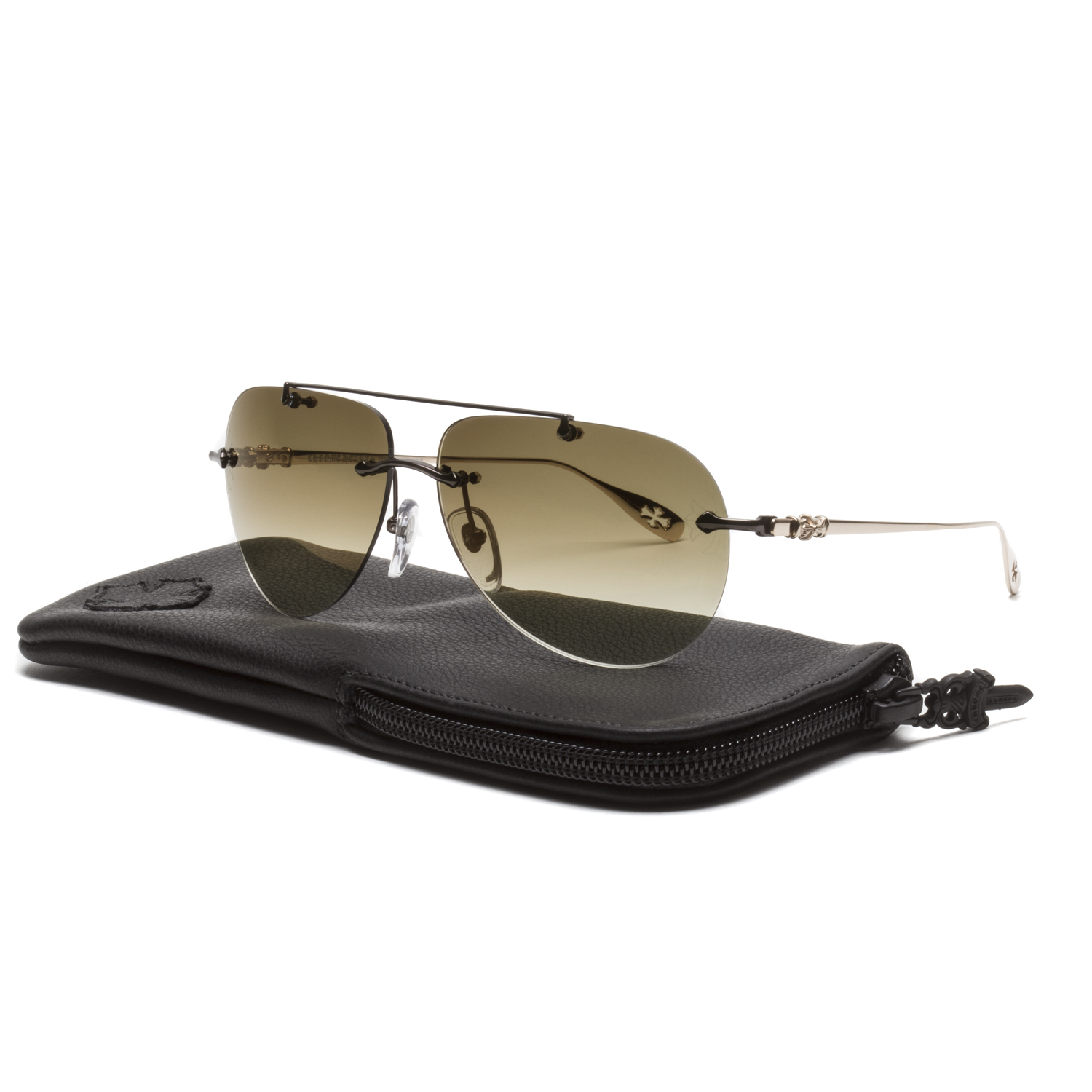 34b41dc5fa4c Chrome Hearts Stains V Sunglasses Chocolate Brown Gold Plated ...
