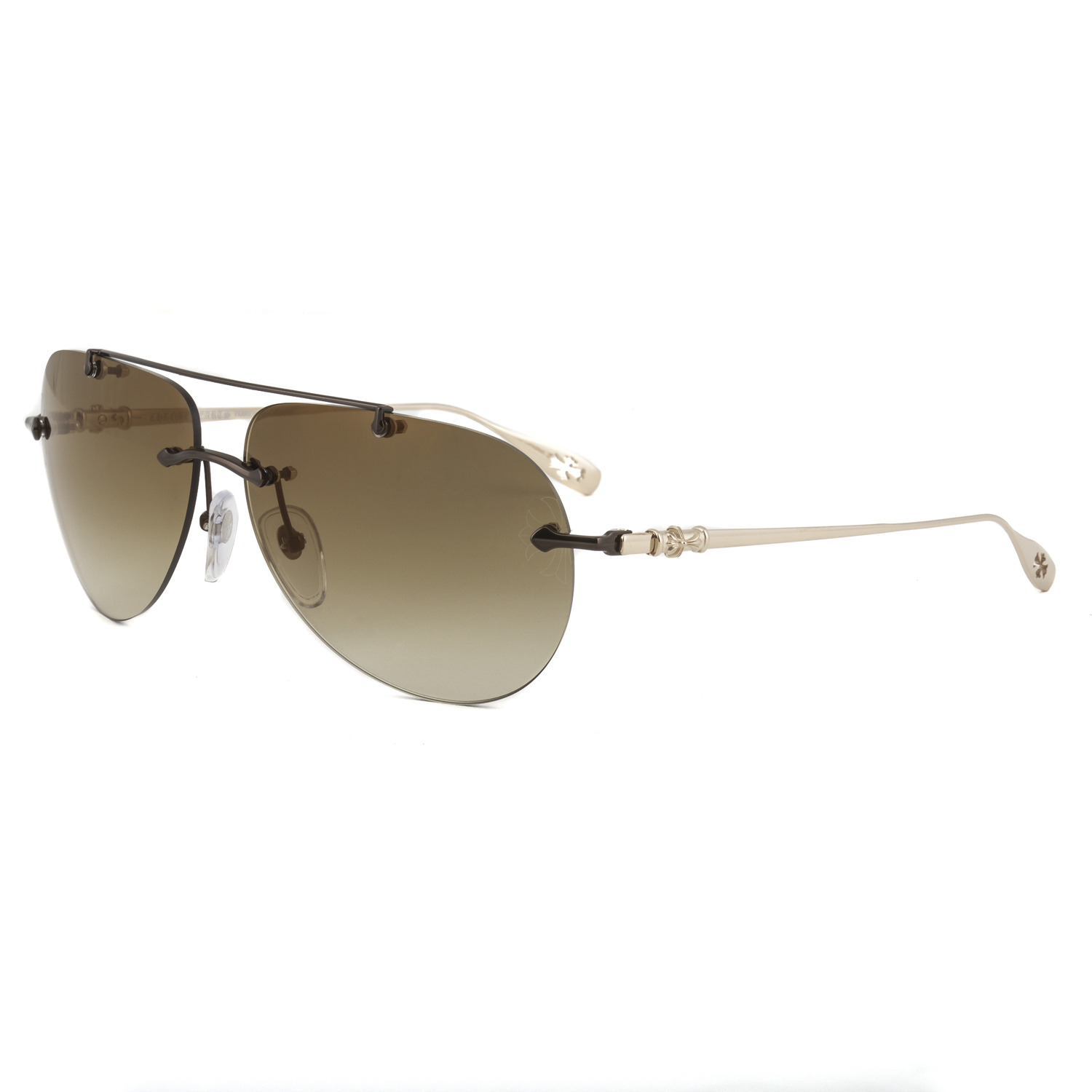094808f943 Chrome Hearts Stains V Sunglasses Shiny Chocolate Brown Gold Frame Gradient  Lens