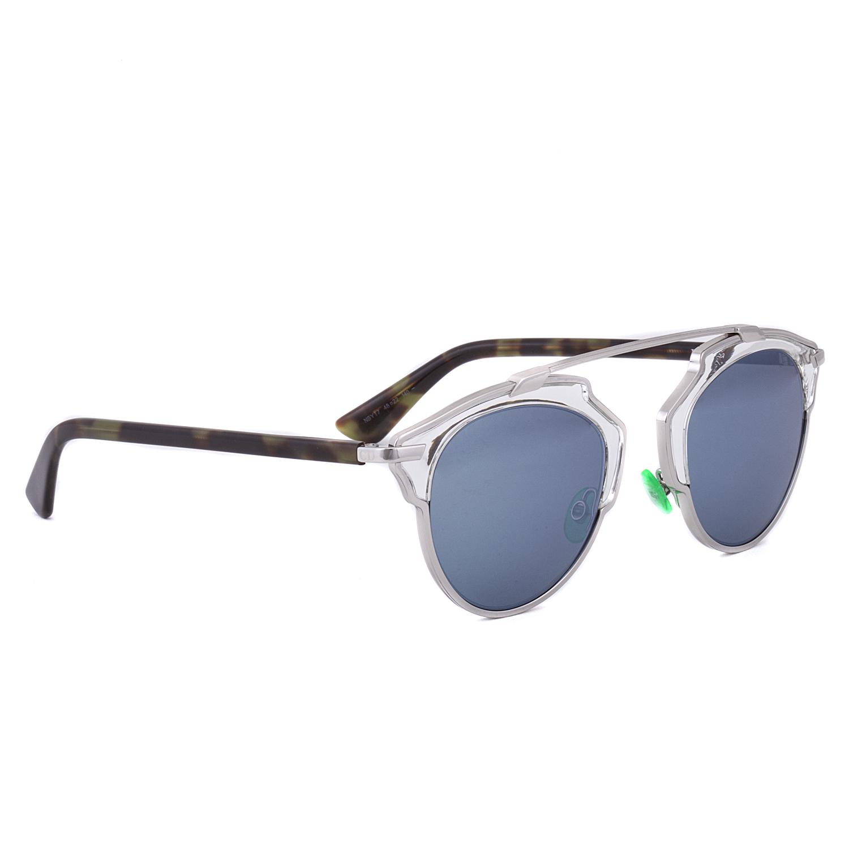 1f695220c9 Dior So Real Aviator Sunglasses NSYT7 Palladium Crystal Havana Green   Grey  w  Blue Mirror Lens