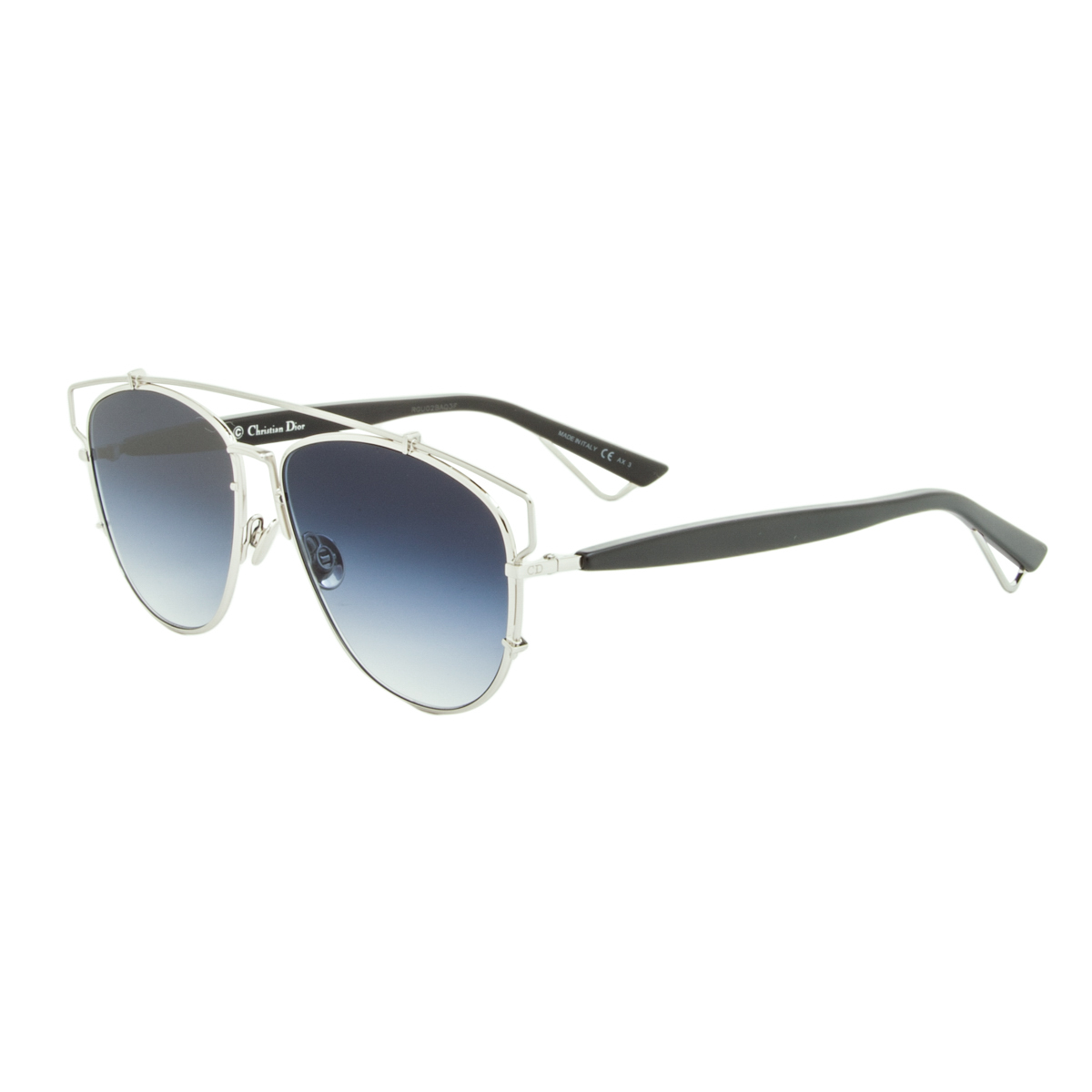 6703b857bea79 Details about Dior Technologic Womens Aviator Sunglasses 84J84 Silver Frame  Blue Gradient Lens