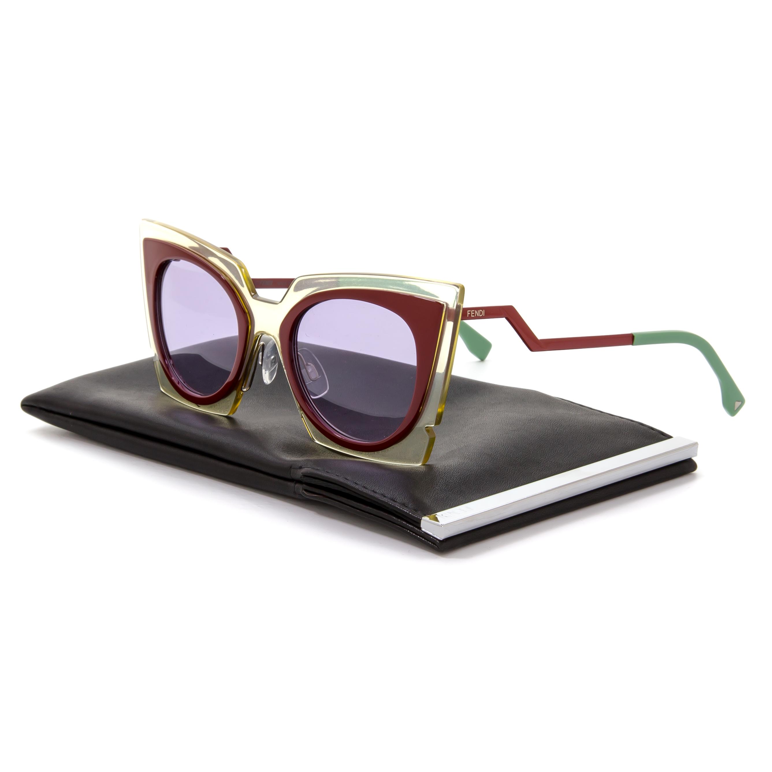 7565ca79a5c0 Fendi 0117 S Orchid Fashion Show Cat Eye Sunglasses IC5Y4 Burgundy Red    Purple