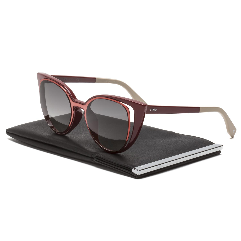 2b62805f609e Fendi FF 0136 S Cat Eye Sunglasses NZ1VK Prange   Red Frame   Grey Gradient  Lenses. main image