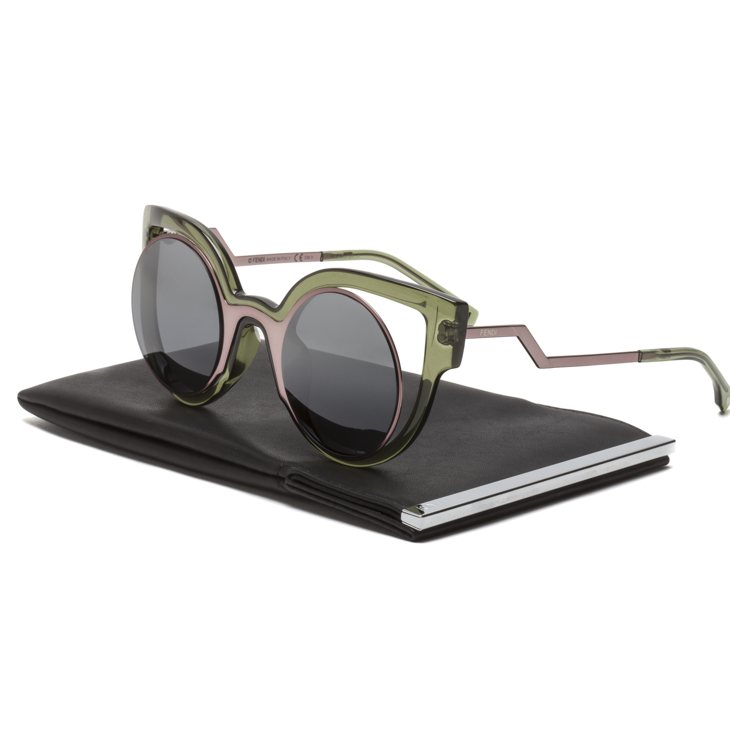 ac3286369d9 Details about Fendi FF 0137 S Paradeyes Womens Sunglasses NTACN Pink Olive  Green   Dark Grey