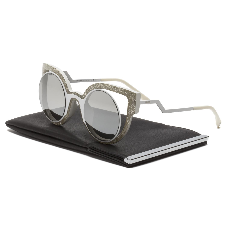 8c0e8214a67 Fendi FF 0137 S Paradeyes Sunglasses NU6SS Glitter Matte White   Grey  Mirrored