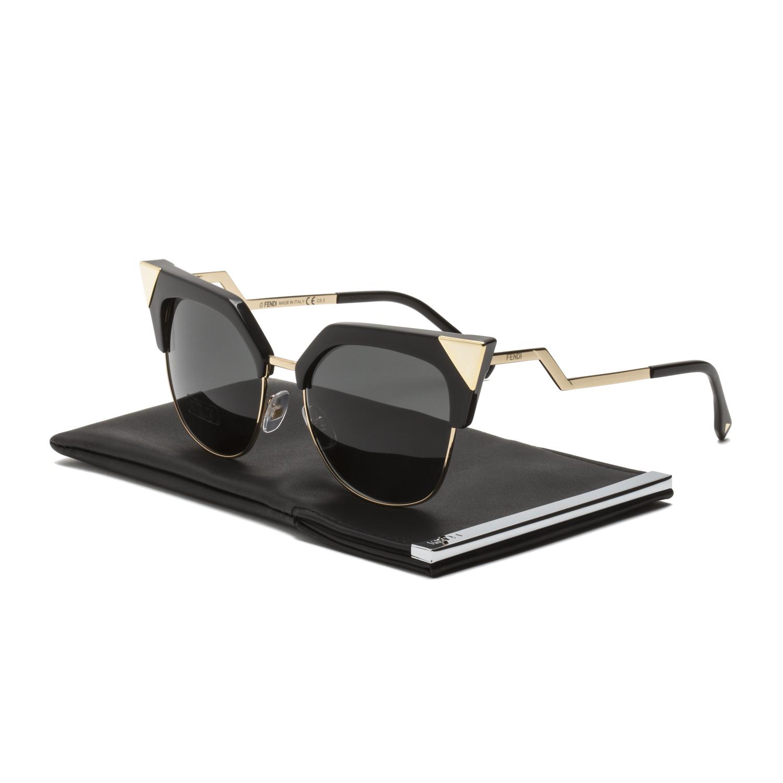 3b2212b64f568 Fendi FF 0149 S Iridia Sunglasses REWP9 Black Gold Frame   Grey Lenses