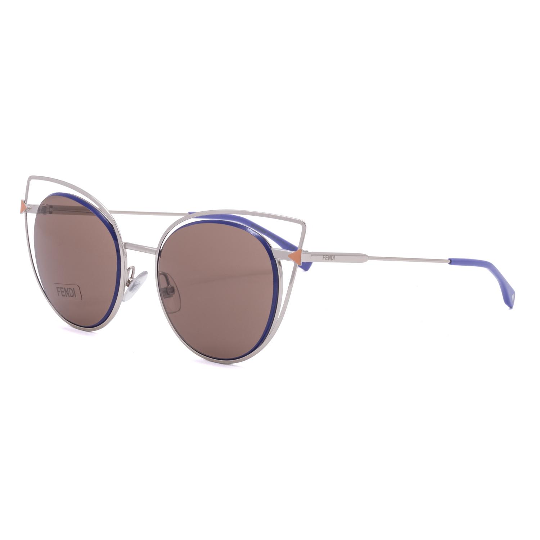 d91db0cc29d Fendi FF 0176 S Cat Eye Sunglasses 3YGUT Light Gold Blue   Dark Brown Lenses