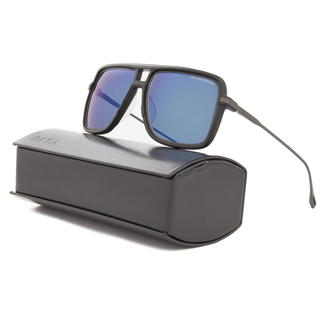 e5a2e5c6009 Details about Dita Westbound Sunglasses 19015B Matte Black Iron   Dark Grey  w  Blue Flash AR