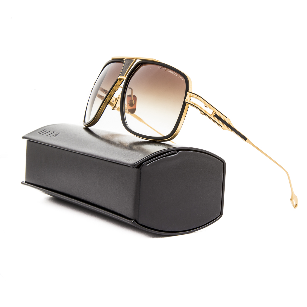c17370d907 Dita Grandmaster Five Sunglasses DRX 2077A Black 18K Gold   Dark Brown  Gradient