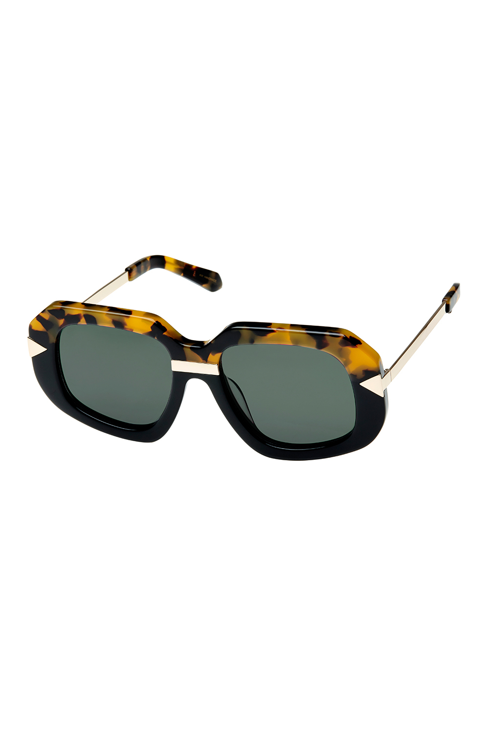 401ba0050e Karen Walker Hollywood Creeper Square Sunglasses Crazy Toroise Brown Black  Gold