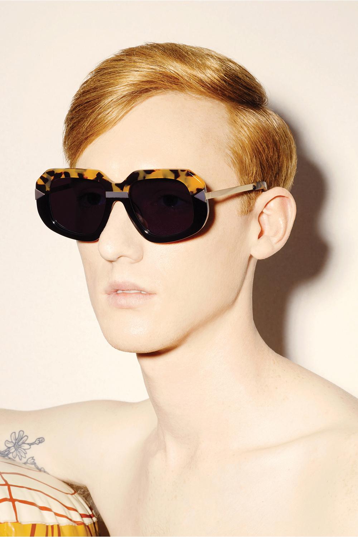 8c3beaab103e Karen Walker Hollywood Creeper Square Sunglasses Crazy Toroise Brown Black  Gold