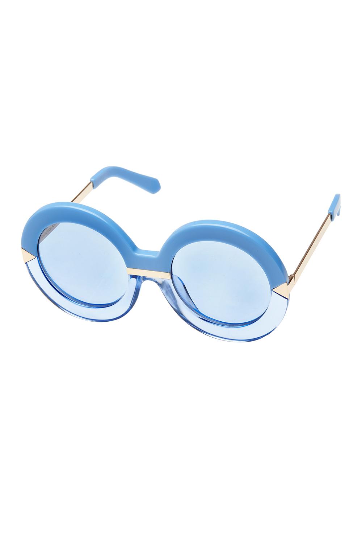 56f4690031 Karen Walker Hollywood Pool Round Womens Sunglasses Crystal Sky Blue   Gold