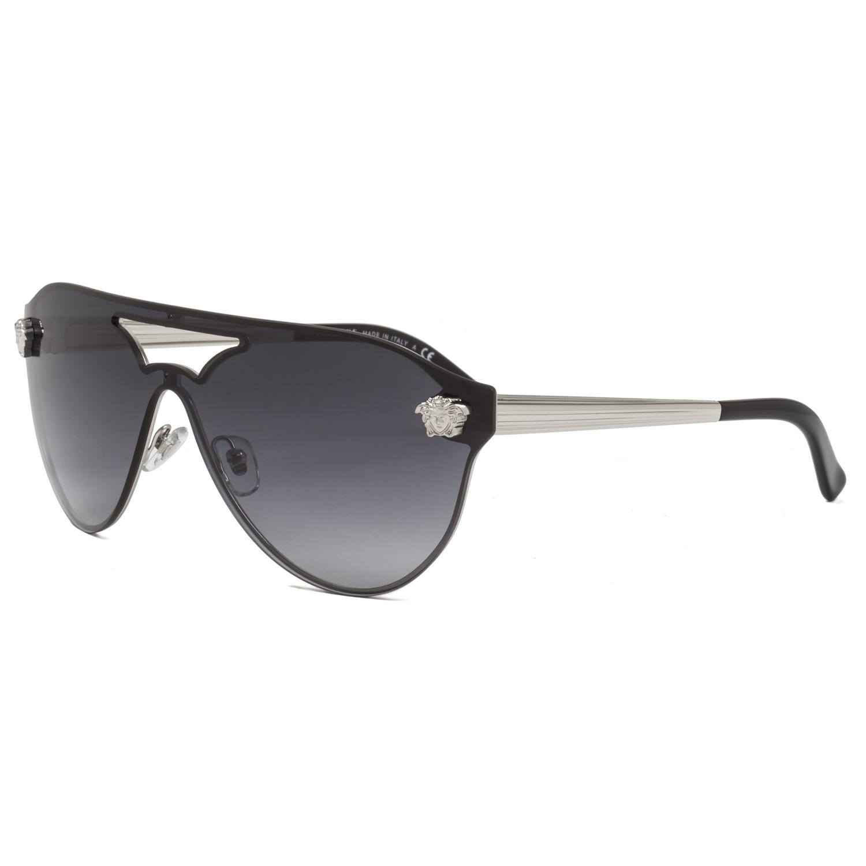 16c74e0d4d Versace VE2161 Rock Icons Medusa Visor Sunglasses 1000 8G Silver   Grey  Lens