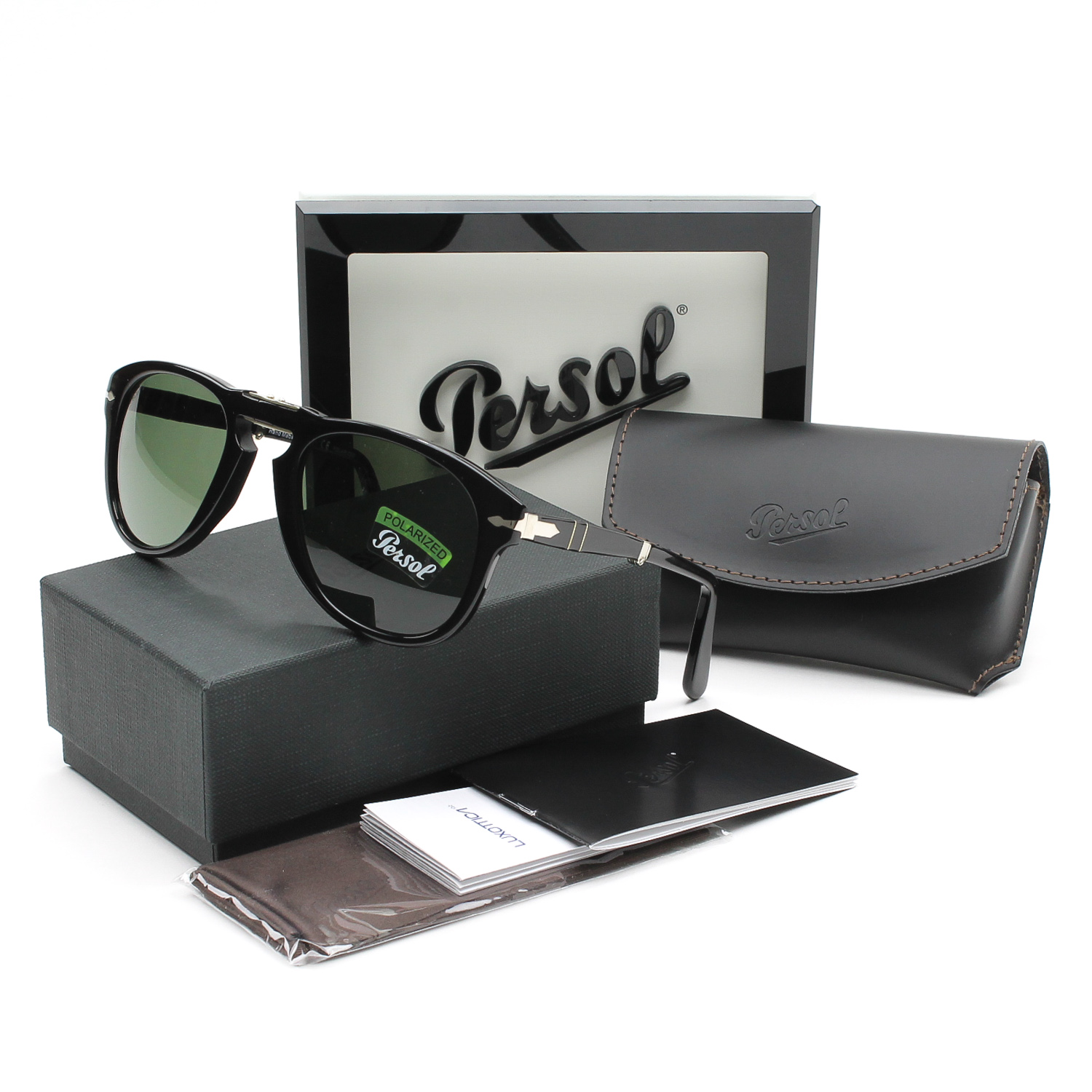 8f368ab308e Details about Persol 714 Folding Sunglasses 95 58 Black   Grey Green  Polarized PO0714 52 mm