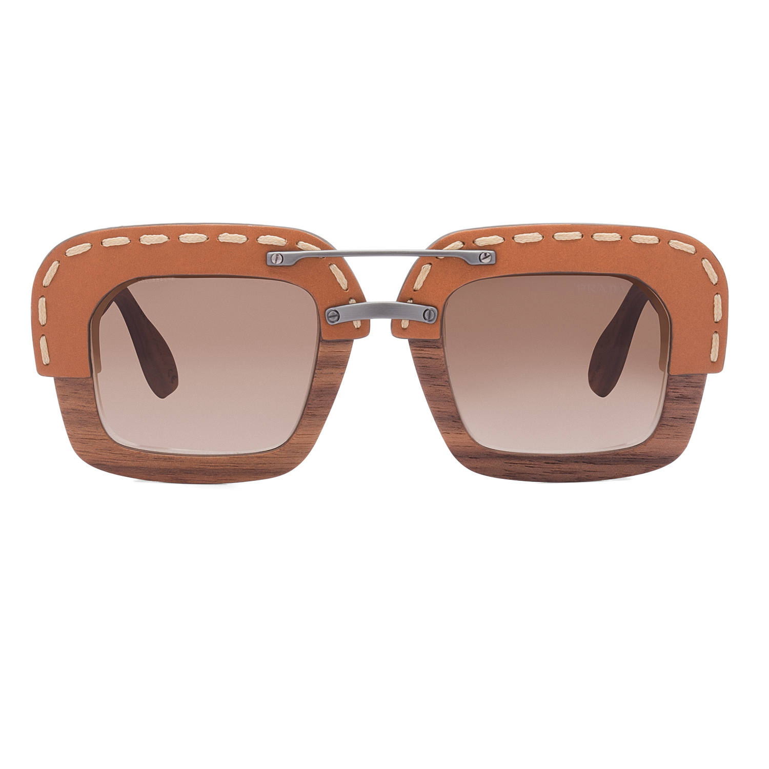 prada pr 26rs womens sunglasses ua76s1 brown nut canaletto wood leather frame - Wood Frame Sunglasses