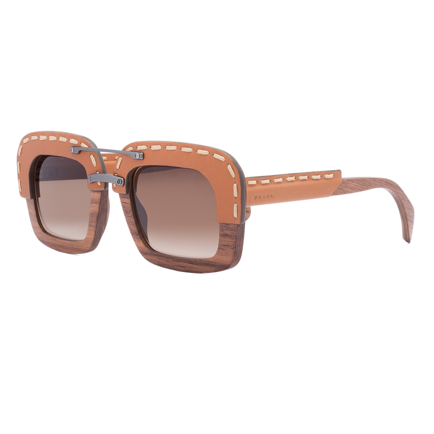 Details About Prada Pr 26rs Womens Sunglasses Ua76s1 Brown Nut Canaletto Wood Leather Frame