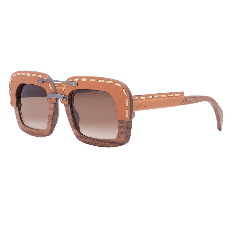 b1dfc3f17b4d Prada SPR 26R Womens Oversized Sunglasses UA76S1 Brown Nut Wood ...