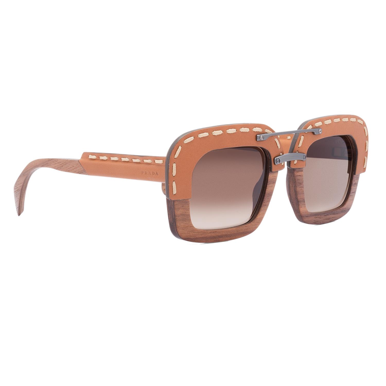 prada pr 26rs womens sunglasses ua76s1 brown nut canaletto wood leather frame - Wood Framed Sunglasses