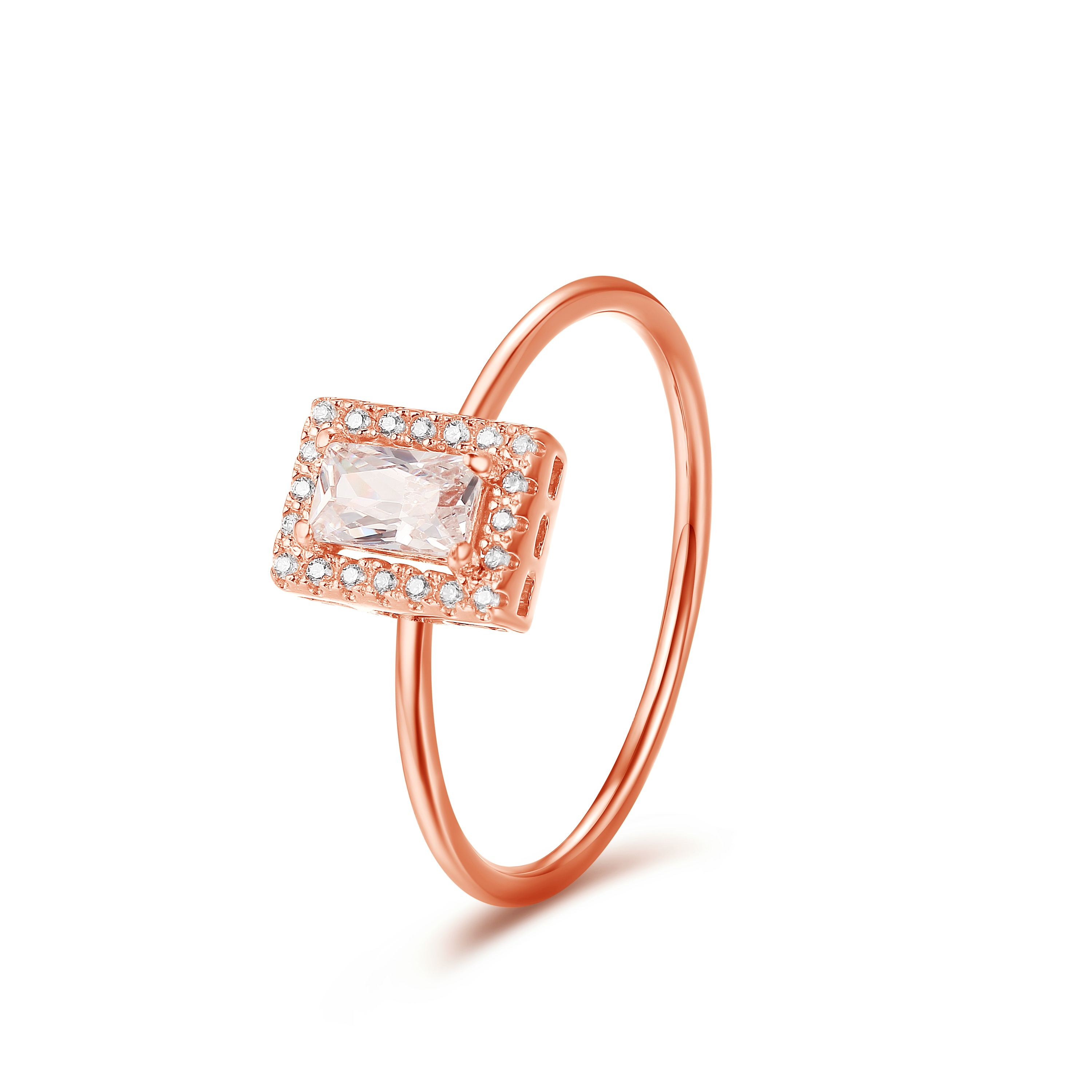 1ee2fe1b6e149 Details about Elegance Princess Cut Tower Ring in Sterling Silver Rose Gold  Plated