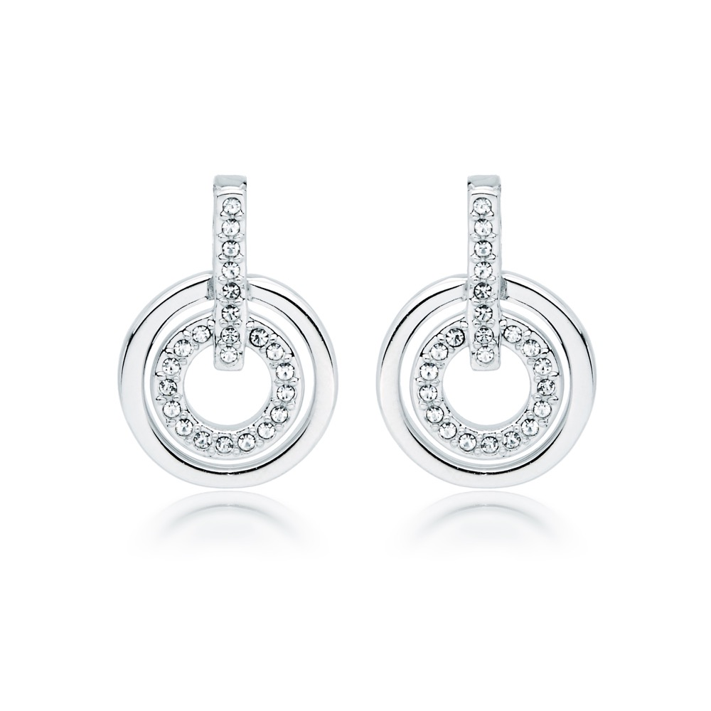 MYJS Circle Rhodium Plated Classic Earrings with Clear Swarovski Crystals 6dl9SkUup