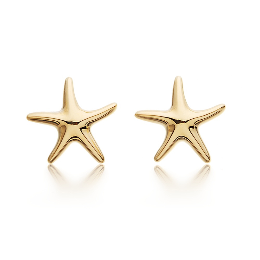 STARFISH Stud Earrings 18k Gold Plated Nautical Beach Ocean