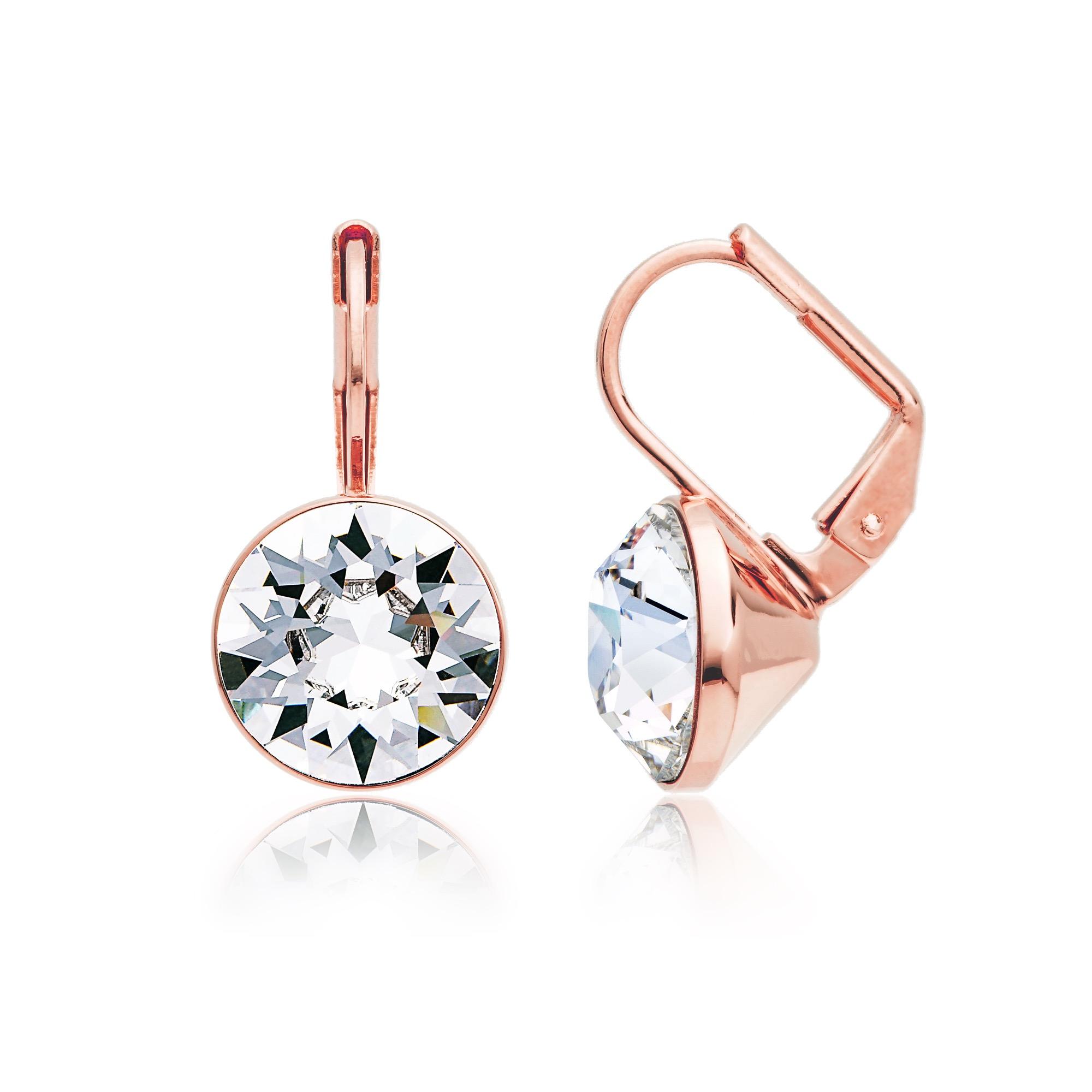 MYJS Bella Statement Earrings Clear Swarovski Crystal Rose Gold Plated AxdQB5IxX