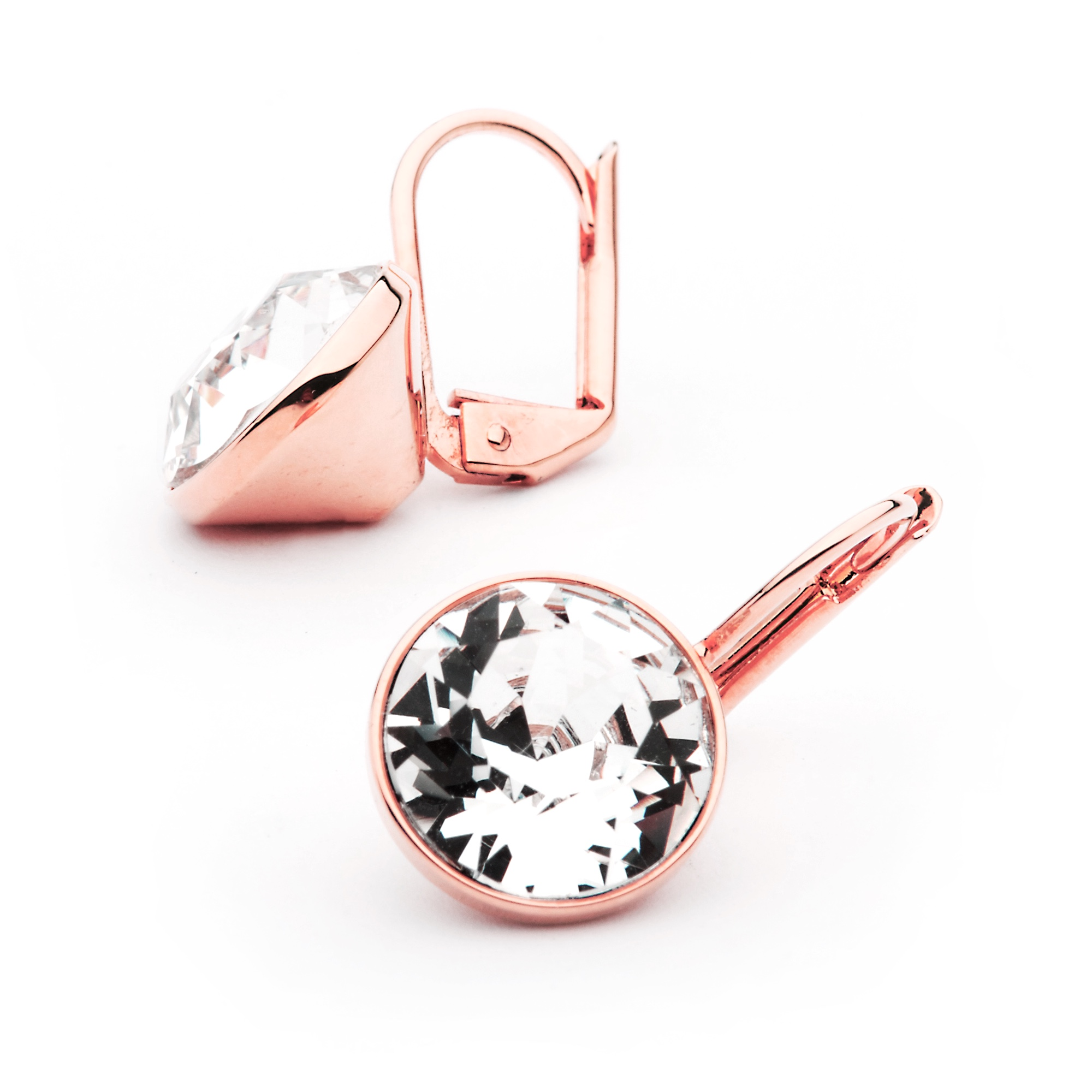MYJS Bella Mini Earrings made with Clear Swarovski Crystals Rose Gold Plated 4d515c58d4