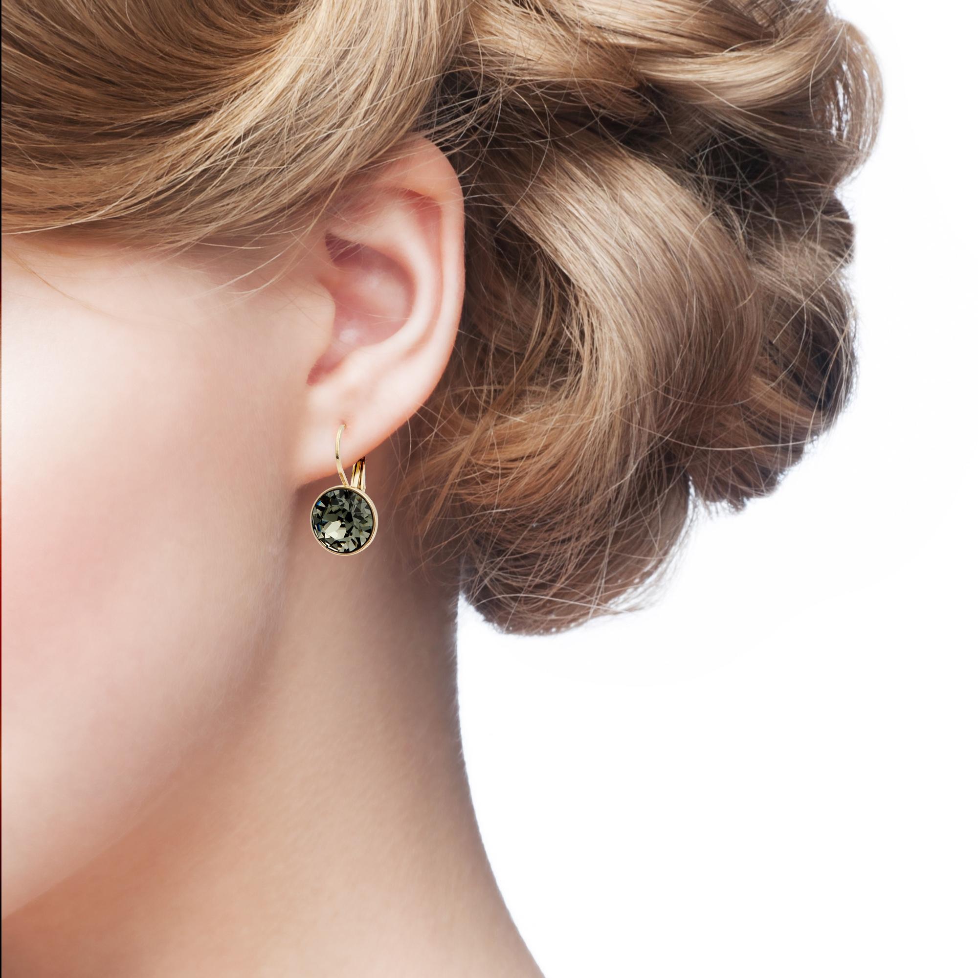 bella mini hoop earrings w black diamond swarovski crystals gp authentic myjs ebay. Black Bedroom Furniture Sets. Home Design Ideas
