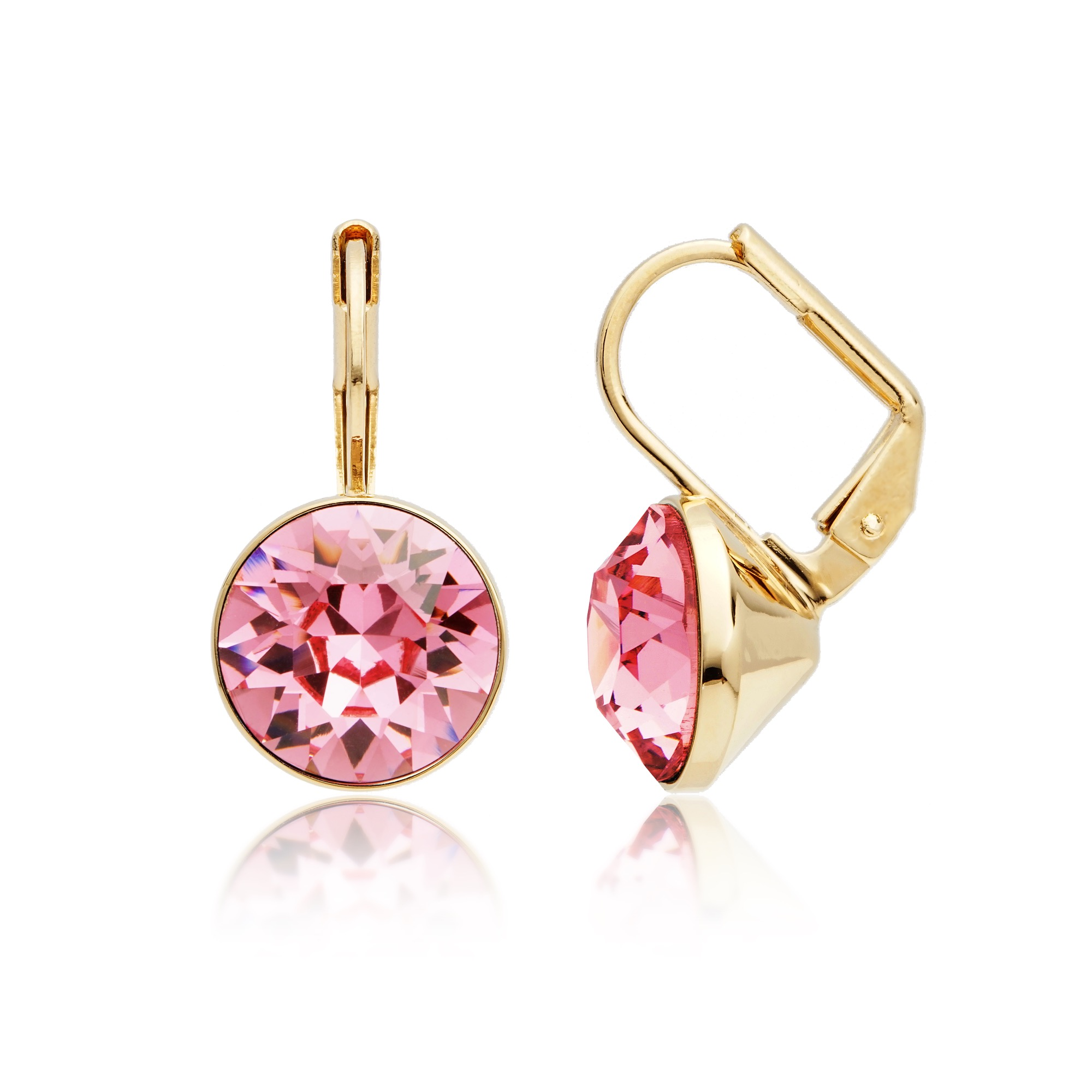 029203a338a Details about MYJS Bella Mini Light Rose with Swarovski Crystal Drop  Earrings 16k Gold Plated