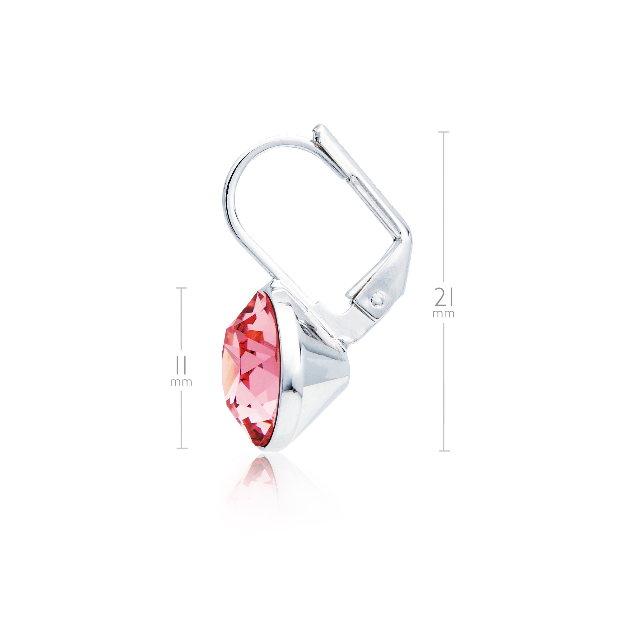 29432242f MYJS Bella Mini Earrings made w/ Light Rose Pink Swarovski Crystals Rhodium  Ptd