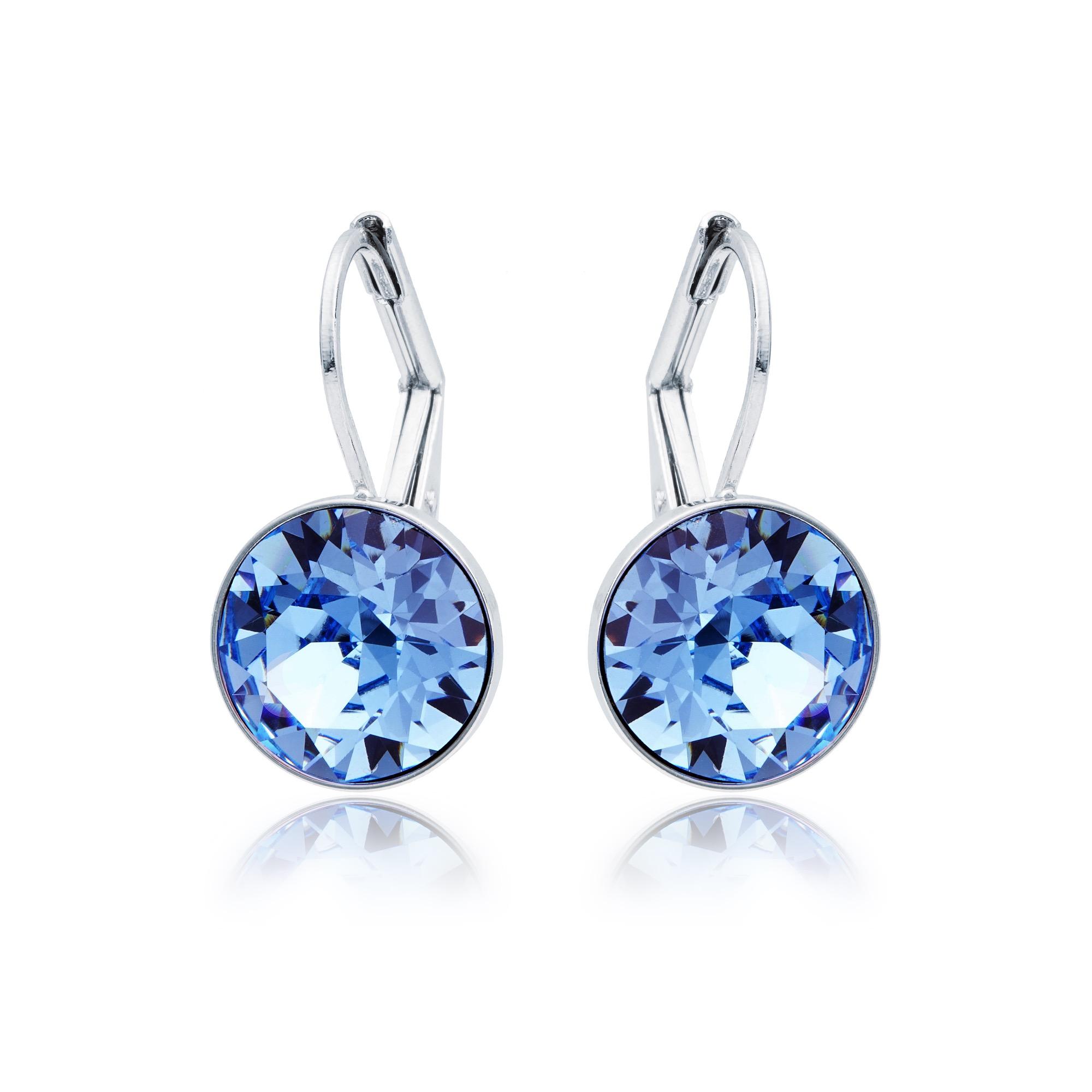 76a288182cf355 MYJS Bella Mini Earrings with Light Sapphire Blue Swarovski Crystals Rd Ptd