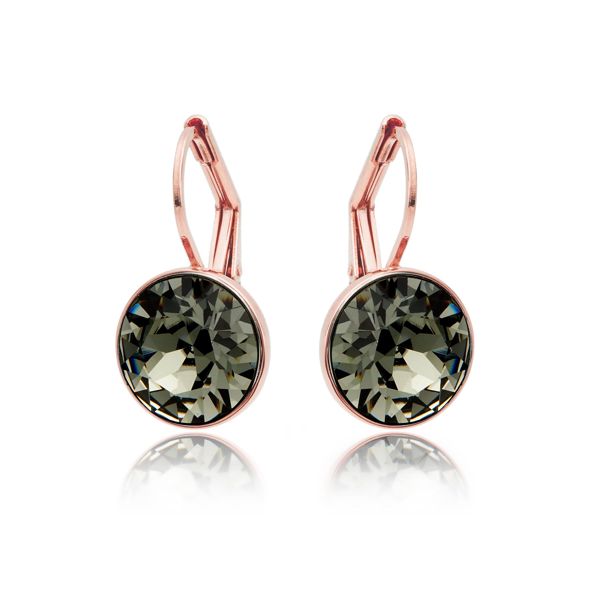 3e90b336c Bella Earrings with 4 Carat Swarovski Black Diamond Crystals Rose Gold  Plated