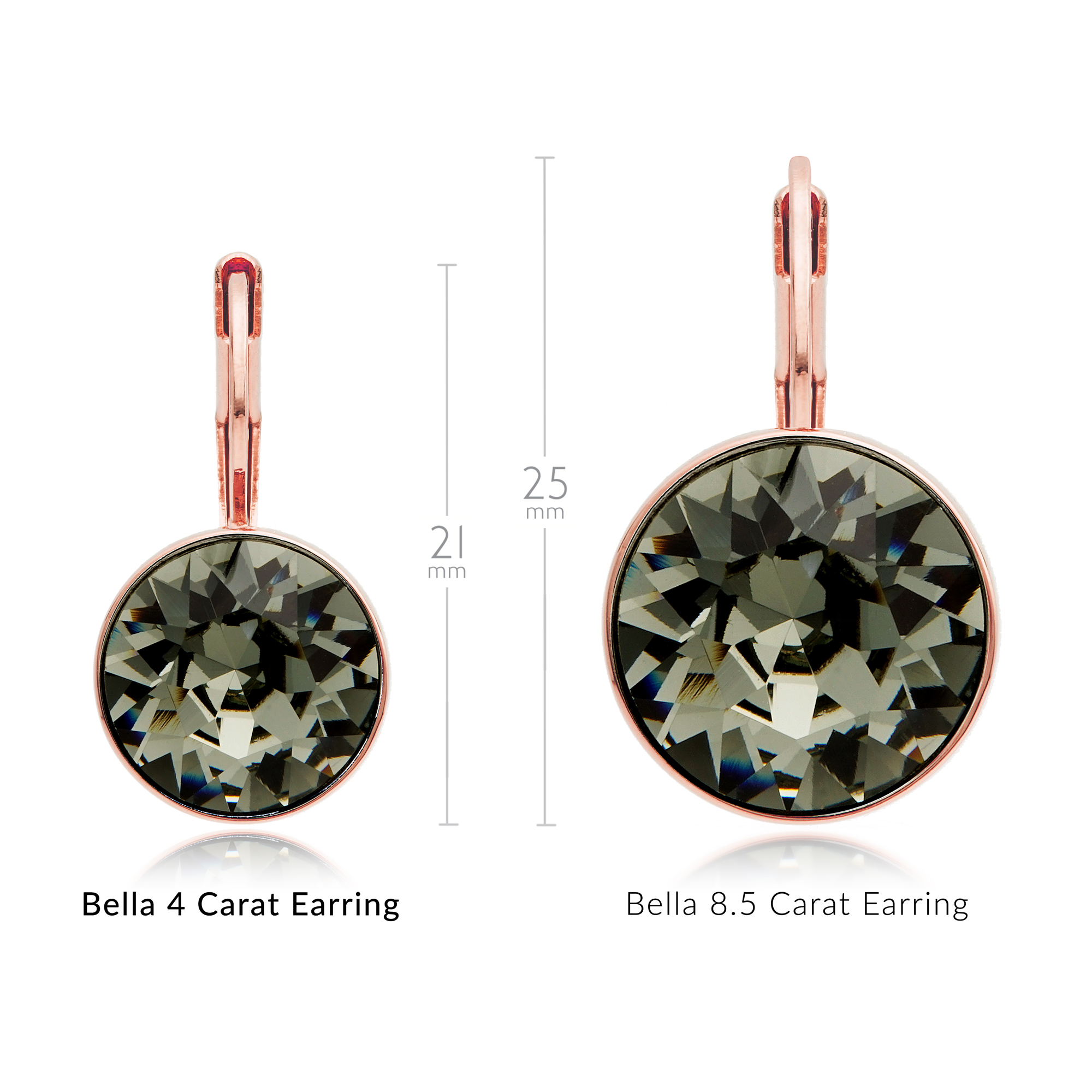 371bd082e The sensational sparkle of these earrings with 4 carat Black Diamond  Swarovski® Crystal gems and rose gold plating ...