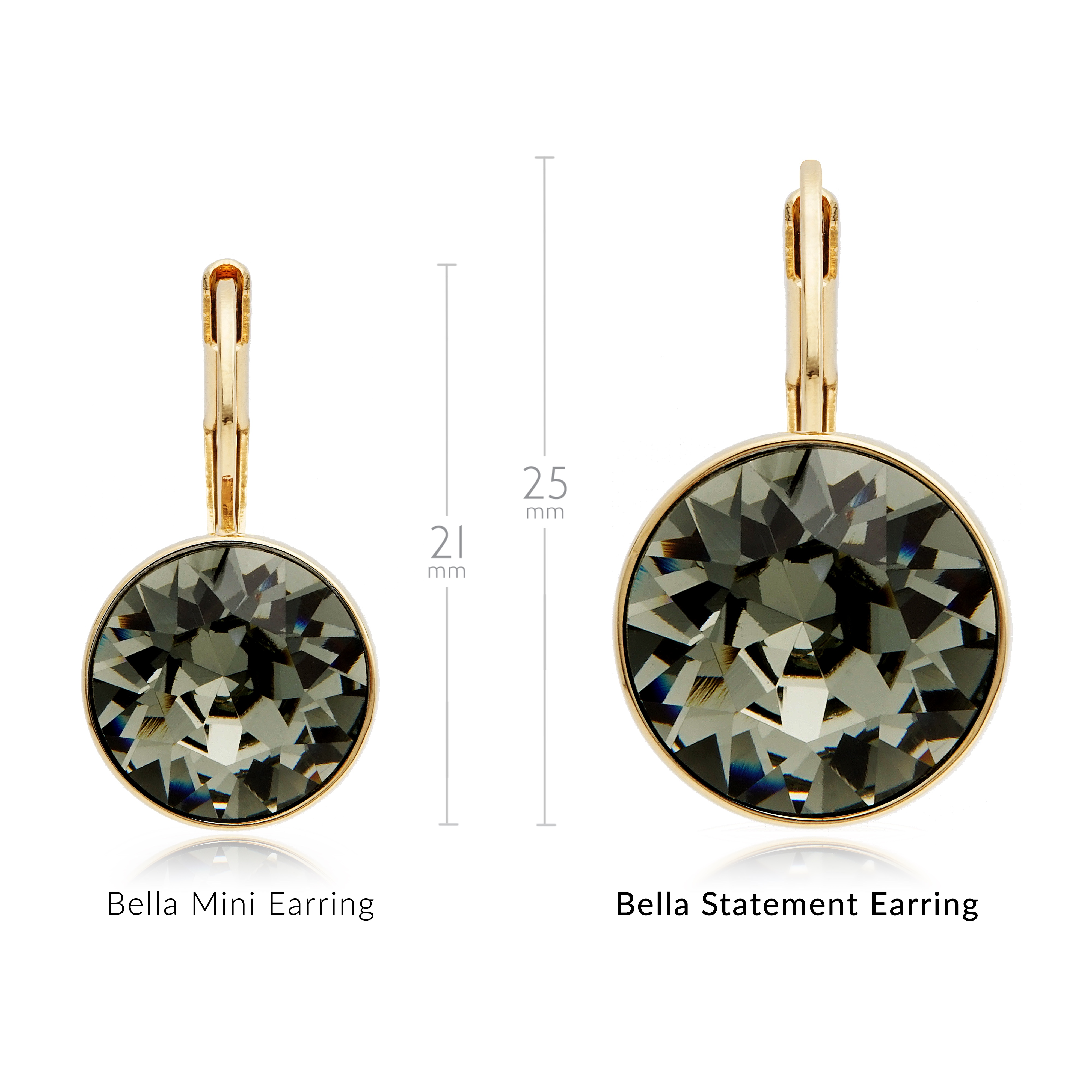 Bella Drop Earrings with Black Diamond Swarovski Crystals Bridal