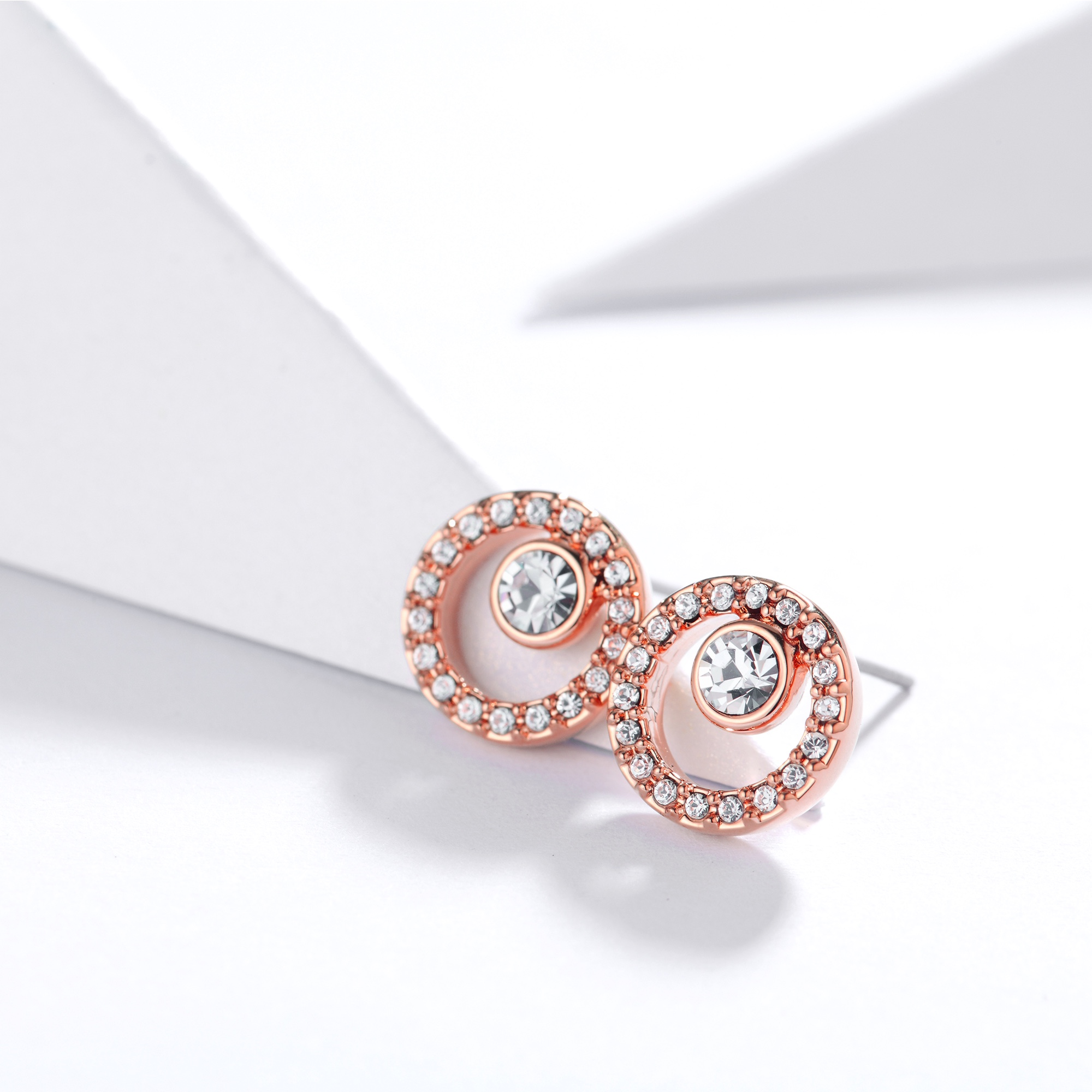 a22cbc881 Halo Creativity Circle Stud Earrings with Swarovski Crystals Rose Gold GP  MYJS