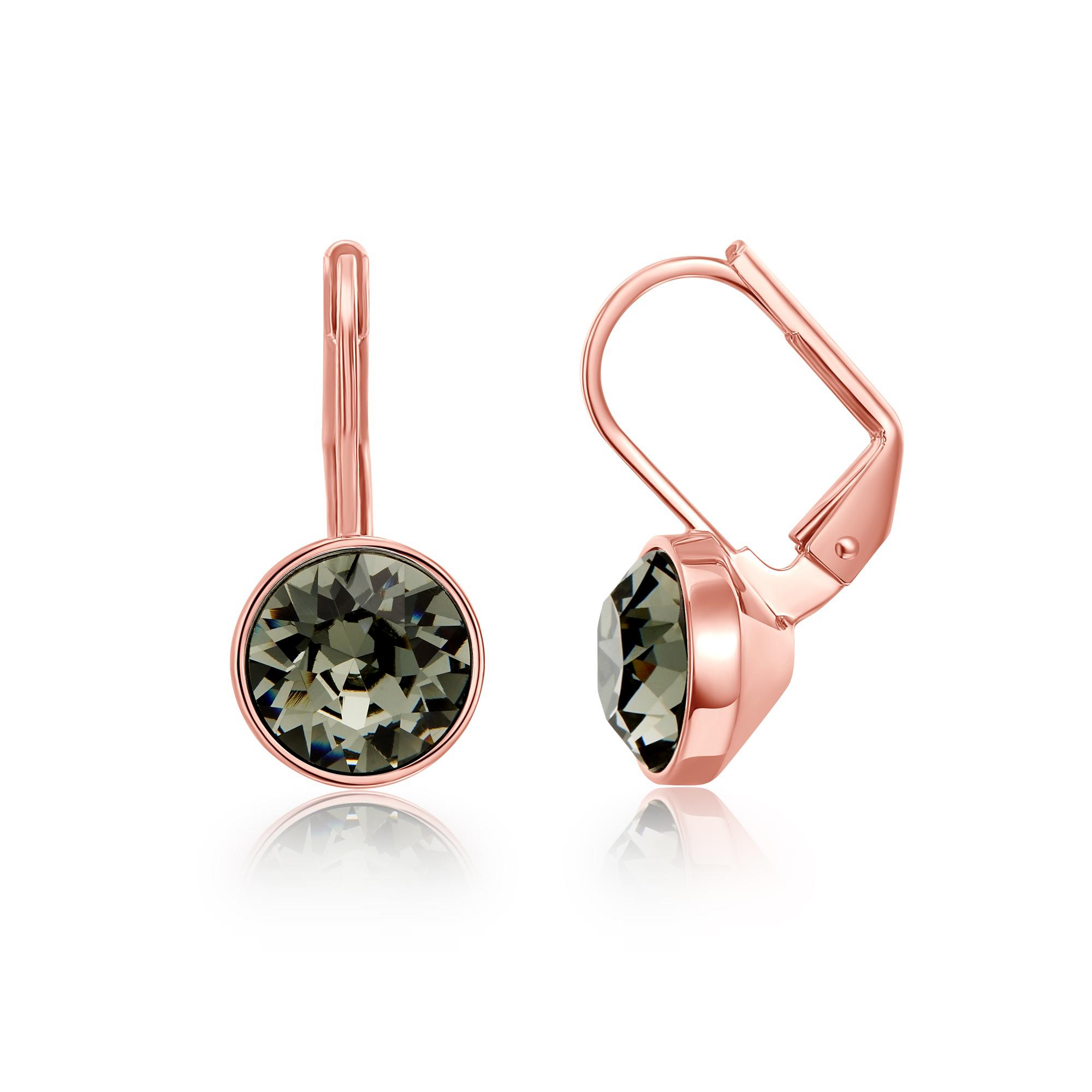 66dda8609 Bella Earrings with 2 Carat Swarovski Black Diamond Crystals Rose Gold  Plated