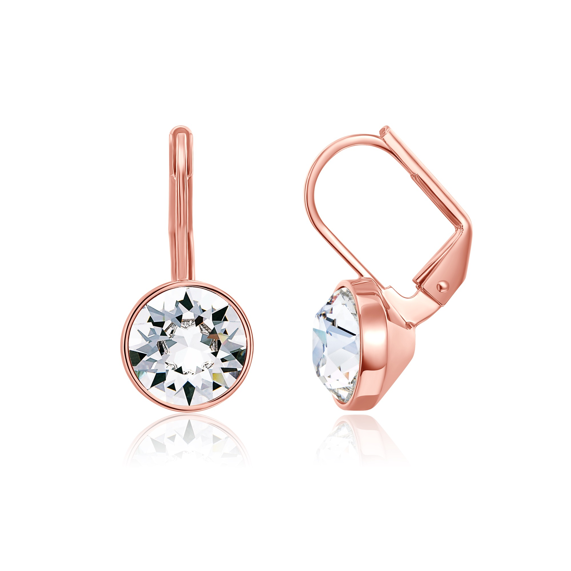 Bella Earrings with 2 Carat Clear Swarovski Crystals Rose Gold Pltd Bridal  Gift 7489a7b241