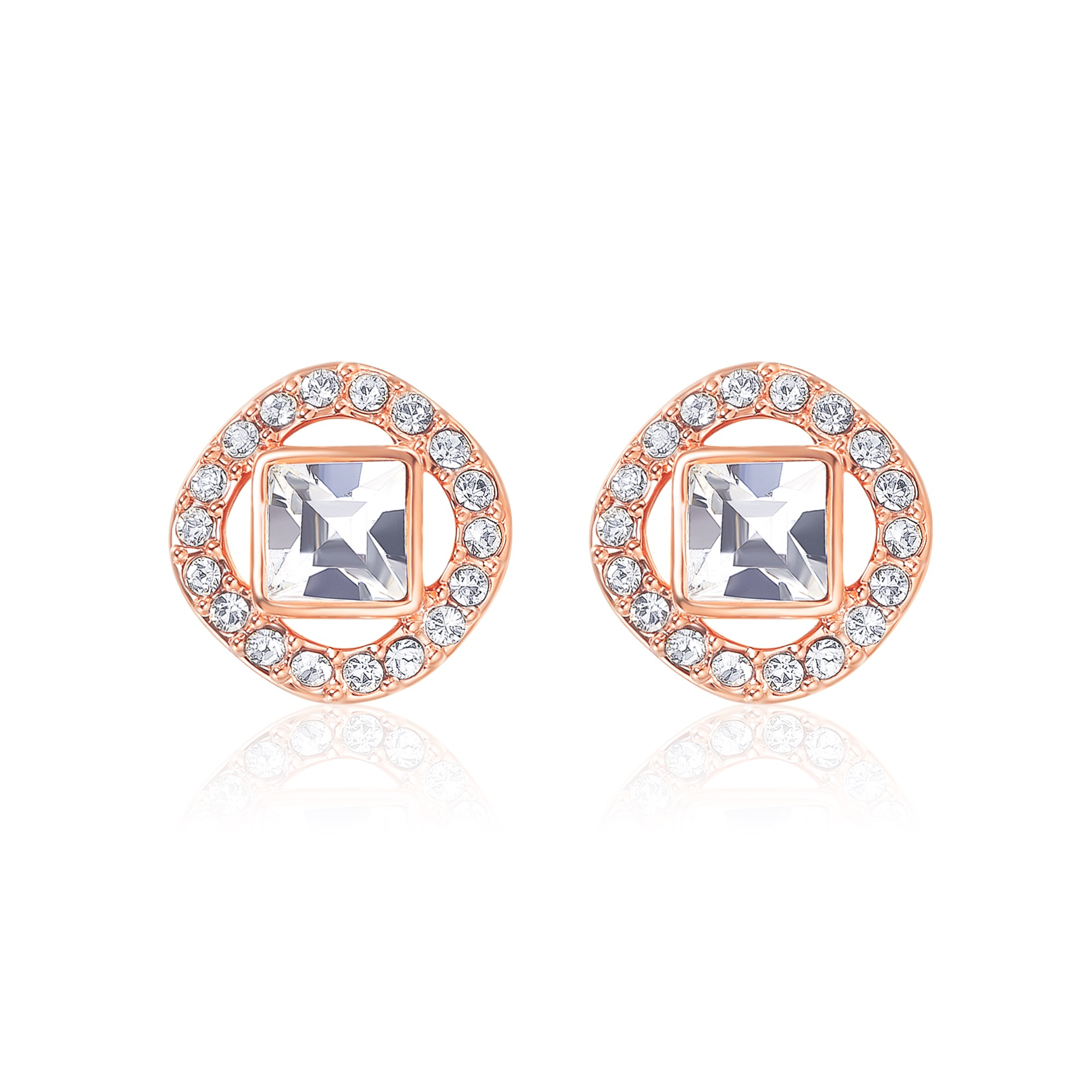 e79ed05c51e1f Details about Angelic Square Earrings with Swarovski Crystals Rose Gold  Plated MYJS