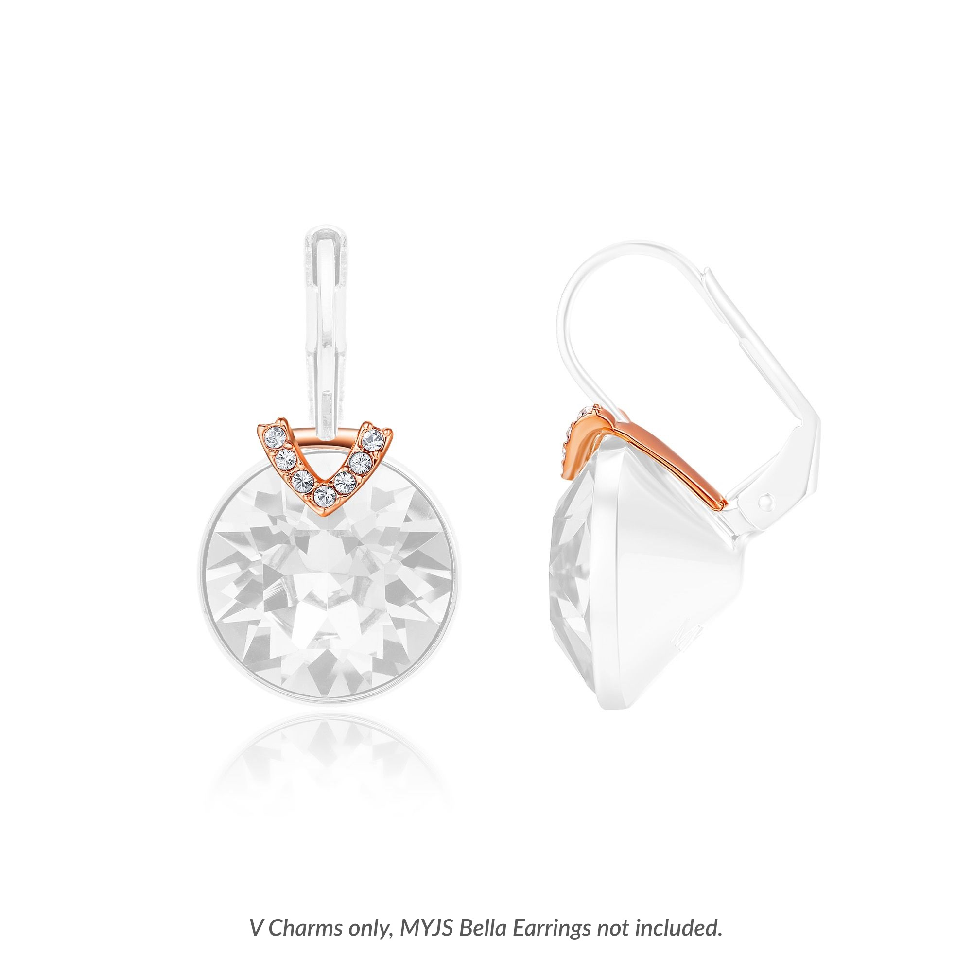 80454f0cd Bella 4 Carat Earrings V Charms with Swarovski Crystals Rose Gold Plated